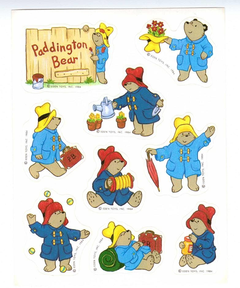 paddington bear sticker sheet hallmark vintage 80 s