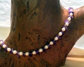 Premium Handknotted Freshwater Pearl & Amethyst Necklace