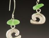 Sea Glass Earrings, Sea Glass Jewelry,  Wave Bead Earrings - Sea Glass Collection