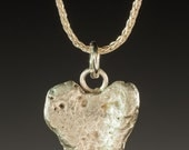 Silver Pendant, Silver Necklace, Curved Heart Stone Pendant - Heart Stone Collection