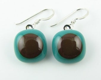 Teal & Brown Fused Glass Earrings. Made To Order. Fused Glass Jewelry. Handcut and designed in Texas. Simple Earrings. Everyday Jewelry.