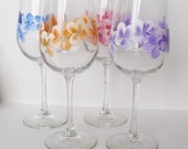 Spring Flowers Wine Glasses Hand Painted