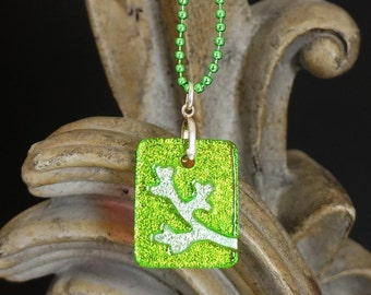 Branch Lime Carved Dichroic Glass Pendant - FREE SHIPPING!