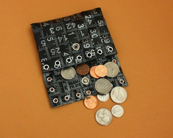 Tape Measure Coin Pouch in Black - Coin Purse or Wallet created with Upcycled Measuring Tape