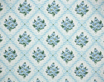 1950s Vintage Wallpaper by the Yard - Blue Flowers and Daisies on White, Floral Wallpaper
