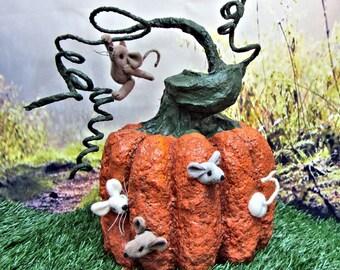 Paper Mache OOAK Primitive Pumpkin with Soft Sculpture Mice
