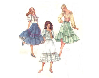 80s Peasant Blouse / Skirt with Ruffle / Petticoat / Waist Cincher - Vintage Sewing Pattern Simplicity 5283 - Size 12 / Bust 34 Uncut