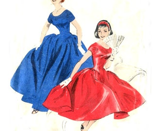 1950s Evening / Cocktail Dress Extended Bodice Full Skirt Scoop Neckline - Vintage Sewing Pattern Butterick 7459 - Size 16 / Bust 34