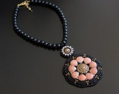 Black Beaded Necklace Pendant Embroidered in Peach Orange, Bronze, White, Ornate Cabochon and Black Pearls. Flower Statement Necklace S-43