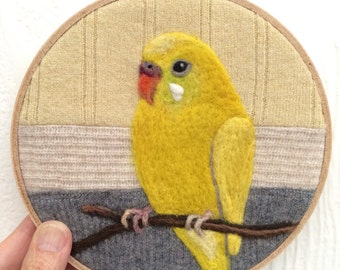Yellow Budgie 6 inch Needle Felted Embroidery Hoop Art by Val's Art Studio