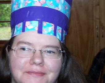 duct tape Bucket Hat: purple with flying piggies