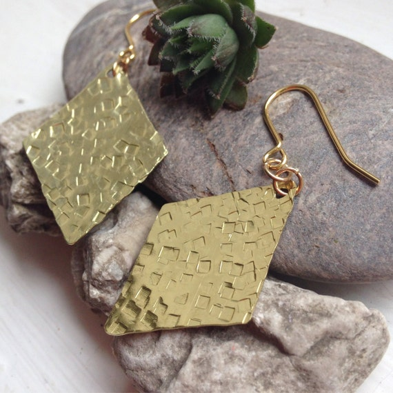 Square Textured Diamond Brass Earrings - Hammered - Golden - Gold - Festival - Gypsy - Frida Kahlo - Statement - Large - Geometric - Modern