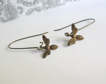 Honey Bee Earrings Long Dangle Nature Woodlands Ear Accessories. Antiqued Brass Honey Bee Charms Nickel Free Earrings