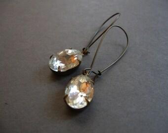Long jewel earrings, crystal dangles, bridal earrings, vintage glam