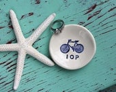 Personalized Ring Dish with Bicycle, Custom Mini Ring Dish with Initials and Bike, Monogramed Ring Dish with Bicycle