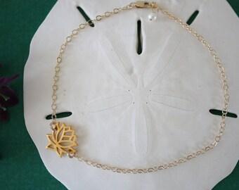 Gold Lotus Anklet,  Gold Anklet, Yoga Bracelet, Lotus Flower, Karma Anklet