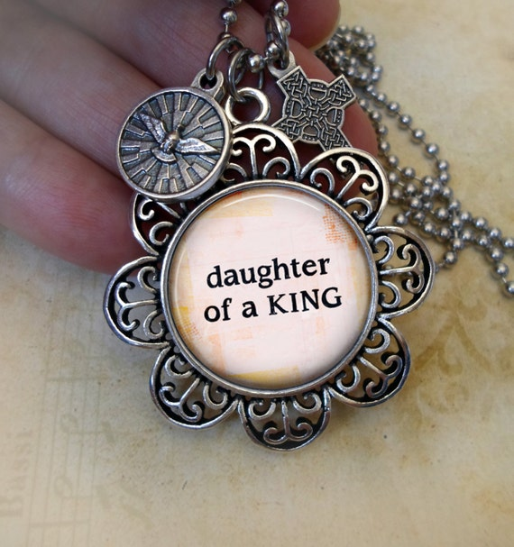 Daughter of a King Necklace with Holy Spirit and Celtic Cross, Finely Detailed Italian Charms, Baptism Gift, Inspirational Jewelry
