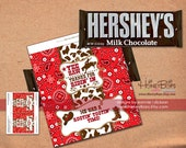 Cowboy Rodeo Bandana Chocolate candy Bar Wrapper instant Download Non-Personalized - PDF