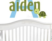 Turtle Name Initial Monogram- Wall Decal for Nursery or Kid Room - Monogram and Name Wall Decal -