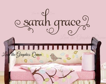 Name with Graceful Swirls in Lower Case Script Font - Vinyl Wall Decal for Nursery or Kid Room - Wall Friendly Decor