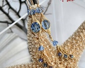 Lt Sapphire Blue Chrystal Earring in Solid Brass TV Show Jewelry Gifted to the Stylist of The Bold and The Beautiful/ The Artisan group