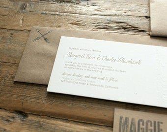 wedding letterpress invitation redwood
