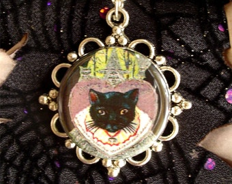 Retro Witchy Black Cat Familiar Pendant on Silver Plated Chain