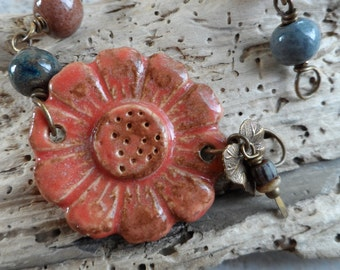 Wild Flower ... Artisan-Made Ceramic and Brass Wire-Wrapped Boho, Floral, Woodland Bracelet