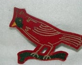 1950's Cardinal Lettermen Patch, Red Bird, Sports Team Patch, Retro, Wild Life, Bird Watcher, Spring