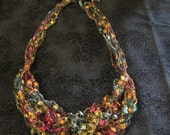 Yellow, Turquoise, Orange and Red Ladder Yarn Necklace