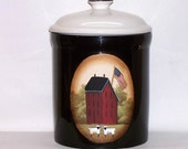 Cookie Jar Hand Painted Black Crock  Primitive Folk Art Red Saltbox Flag Country Farm House  Kitchen Decor OFG