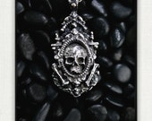 """Large Sterling Silver """"Shipwreck"""" Skull and Bones Pendant- A Brave and Holy Relic -"""