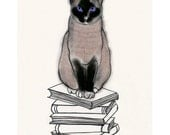 Siamese Cat Art -  I Heart Books -  4 X 6 print of cat drawing - 4 for 3 SALE