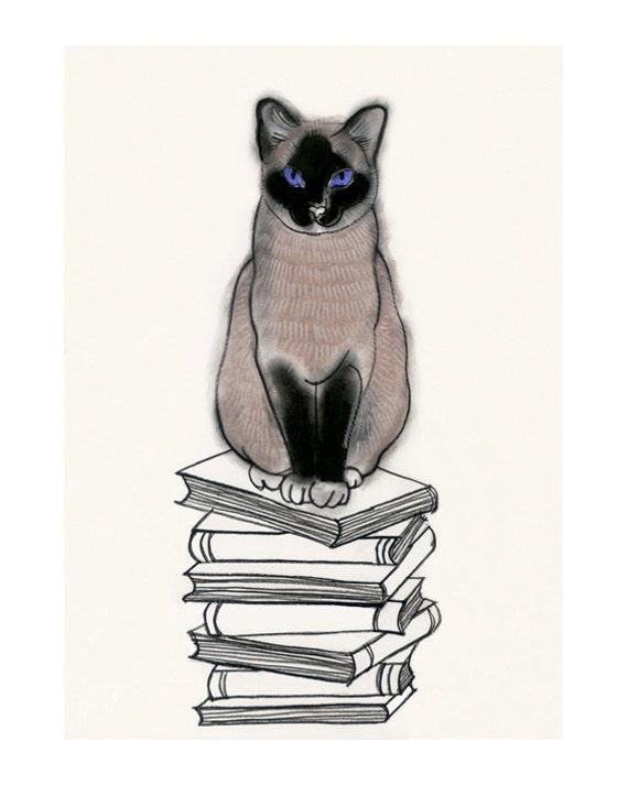 Siamese Cat Art Print -  I Heart Books -  8.3 x11.7 print = A4 print - 4 for 3 SALE