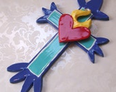 ceramic cross with sacred heart w/ flames blue pottery cross for collectors Mexican Folkart