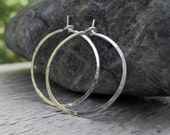 Sterling Silver Hoops - Hammered Hoop Earrings Small Argentium Silver