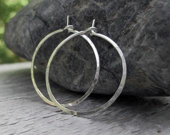 Sterling Silver Hoops - Hammered Hoop Earrings Small Argentium Silver