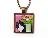 Tuxedo Cat Necklace/ Whimsical Longhair Feline Art/ Jewelry by Susan Faye
