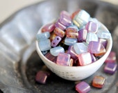 Magical Garden - Czech Glass Beads, Opalite, Milky Pink, Purple, Baby Blue, Flat Two Hole Tiles 6mm - Pc 20