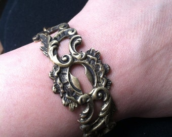 Keyhole Bracelet Brass Cuff Bracelet Alice in Wonderland Antique Escutcheon DanielleRoseBean Rustic Bracelet Cuff Bracelet
