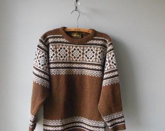 Nordstrikk vintage sweater /  snowflake ski sweater / mens sweater