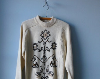 Brown 1960s Scandinavian Style Ski Sweater - Size Small -  Mens Winter Spring Fair Isle Viking