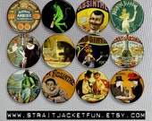 Vintage Absinthe Art - Pinback Buttons, Magnets, or Flatbacks - Set of 12 designs - 2 sizes available