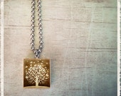 Scrabble Art Pendant Necklace - Butterfly Tree Sepia - Scrabble Game Tile Jewelry - Customize - Choose Your Style