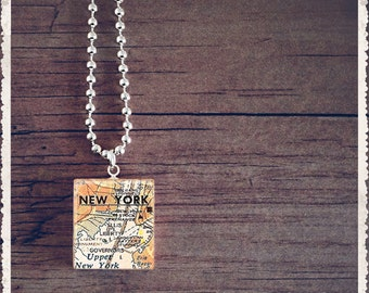 Scrabble Tile Necklace - New York City Map - Scrabble Charm Jewelry - Customize - Choose Your Style