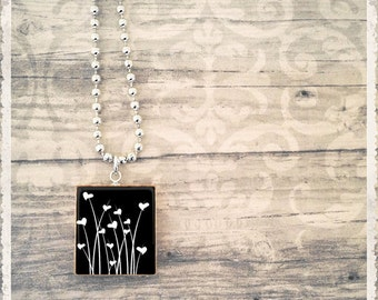 Scrabble Game Tile Jewelry - Wild Hearts Black - Scrabble Pendant Charm - Customize - Choose Your Style