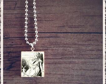 Scrabble Jewelry - Alice In Wonderland Black And White - Scrabble Pendant Charm - Customize