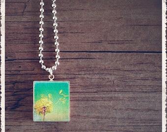 Scrabble Pendant Charm - Dandelion Turquoise - Scrabble Game Tile Jewelry - Customize