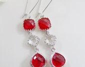 Red Long Teardrop Earrings, Christmas Earrings, Clear Crystal, Three Tier Dangle, Wedding Jewelry, Gift for Women