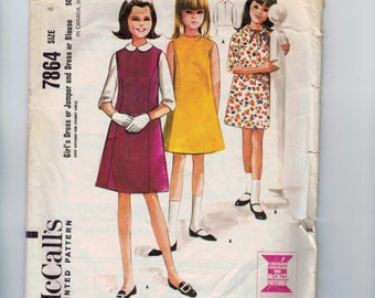1960s Vintage Girls Sewing Pattern McCalls 7864 Girls Dress Jumper Princess Seams Size 8 Breast 26 1965 60s